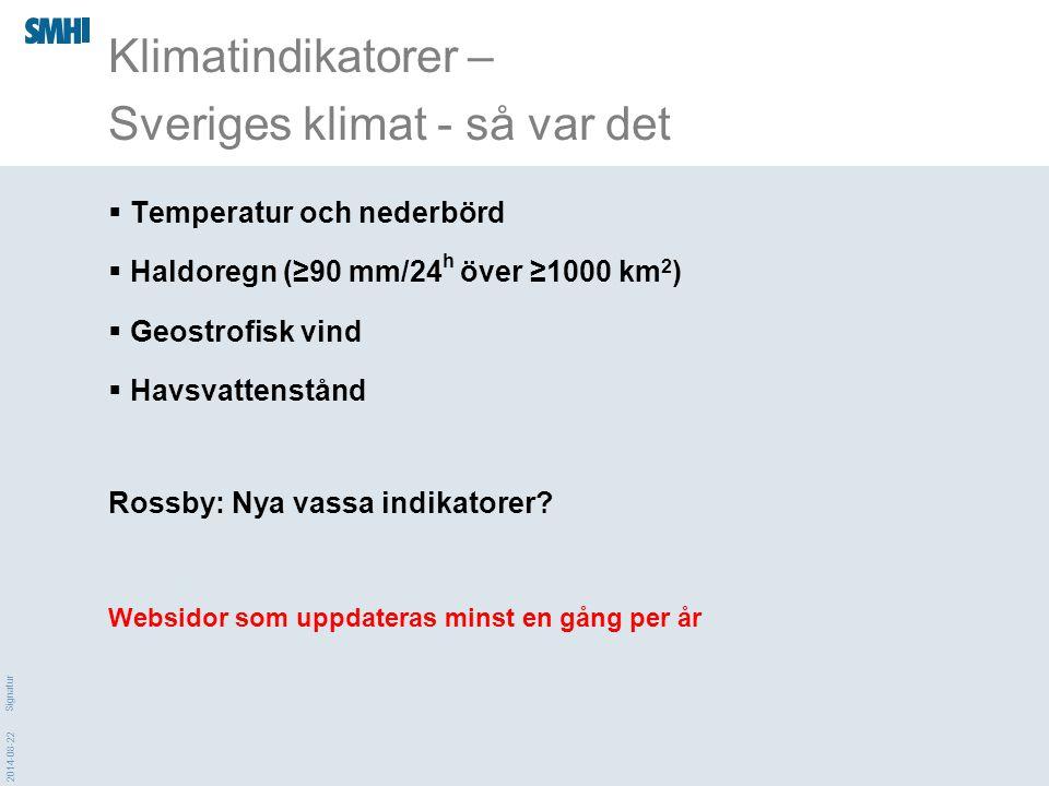 2014-08-22 Signatur  Temperatur och nederbörd  Haldoregn (≥90 mm/24 h över ≥1000 km 2 )  Geostrofisk vind  Havsvattenstånd Rossby: Nya vassa indik