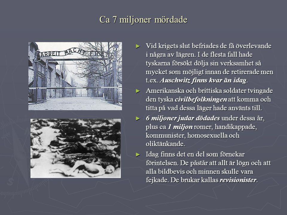 Ca 7 miljoner mördade ► Vid krigets slut befriades de få överlevande i några av lägren. I de flesta fall hade tyskarna försökt dölja sin verksamhet så