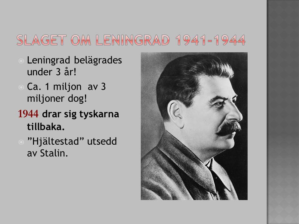 """ Leningrad belägrades under 3 år!  Ca. 1 miljon av 3 miljoner dog! 1944 drar sig tyskarna tillbaka.  """"Hjältestad"""" utsedd av Stalin."""