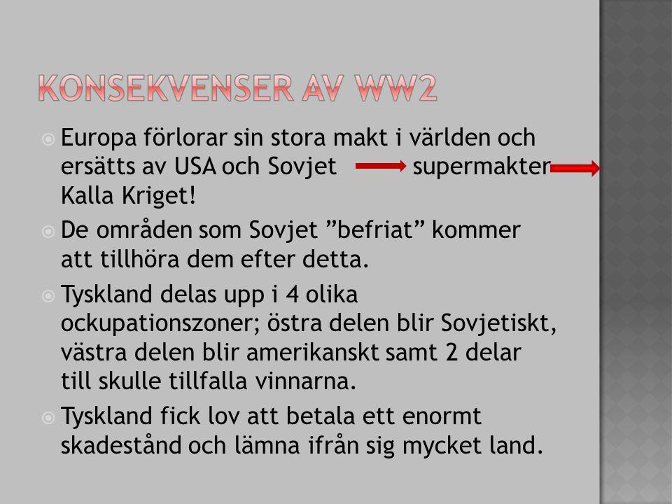 """ Europa förlorar sin stora makt i världen och ersätts av USA och Sovjet supermakter Kalla Kriget!  De områden som Sovjet """"befriat"""" kommer att tillhö"""