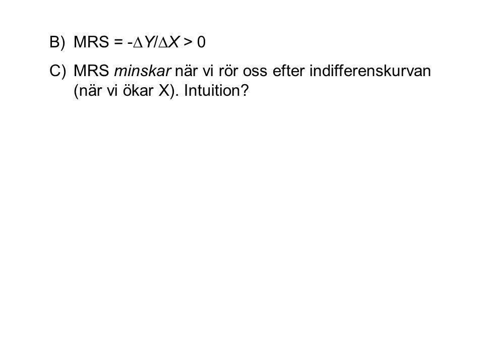B)MRS = -∆Y/∆X > 0 C)MRS minskar när vi rör oss efter indifferenskurvan (när vi ökar X). Intuition?