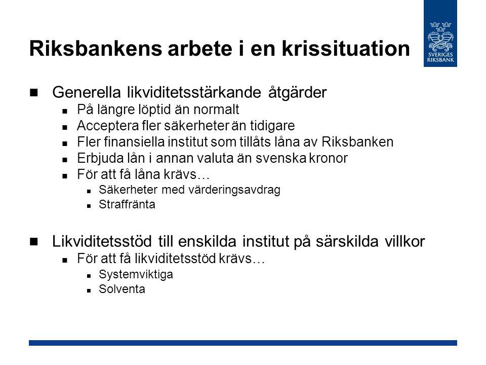 Riksbankens arbete i en krissituation Generella likviditetsstärkande åtgärder På längre löptid än normalt Acceptera fler säkerheter än tidigare Fler f
