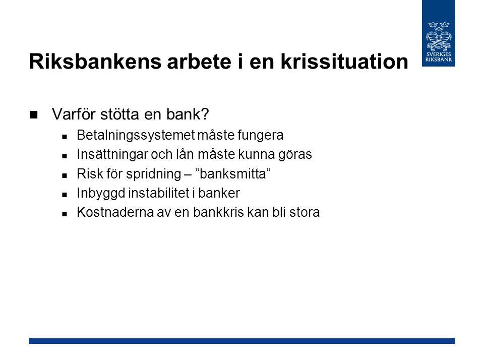 Riksbankens arbete i en krissituation Varför stötta en bank? Betalningssystemet måste fungera Insättningar och lån måste kunna göras Risk för spridnin