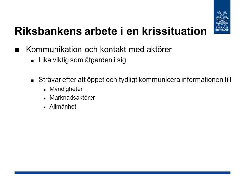 Riksbankens arbete i en krissituation Kommunikation och kontakt med aktörer Lika viktig som åtgärden i sig Strävar efter att öppet och tydligt kommuni