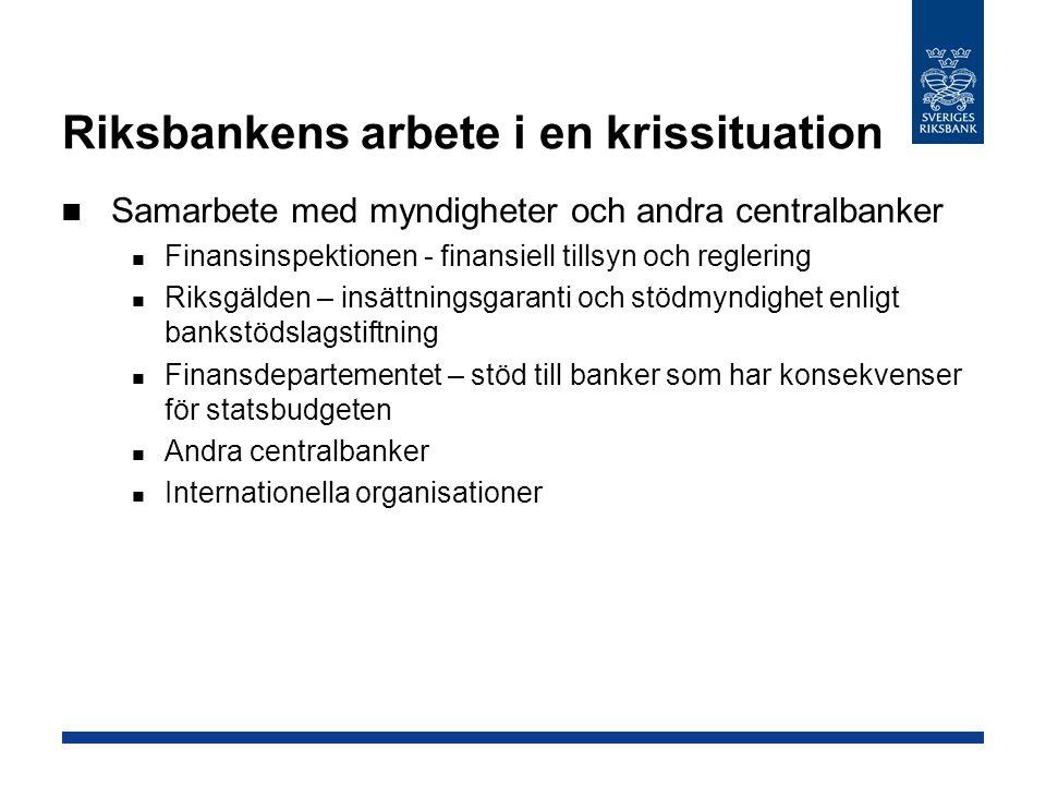 Riksbankens arbete i en krissituation Samarbete med myndigheter och andra centralbanker Finansinspektionen - finansiell tillsyn och reglering Riksgäld