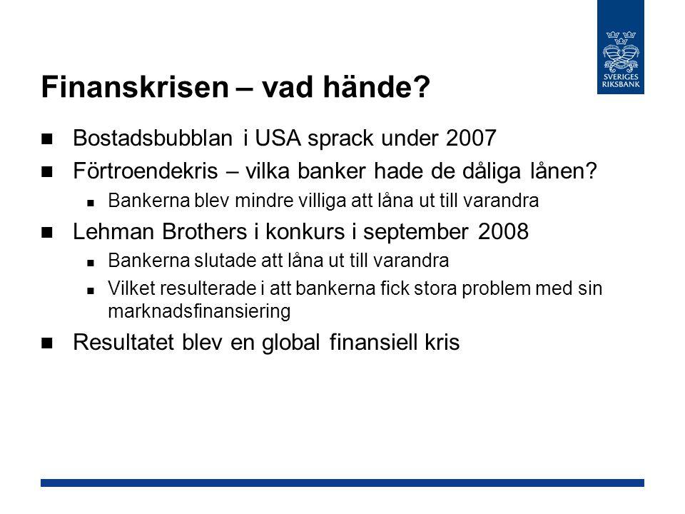Finanskrisen – vad hände? Bostadsbubblan i USA sprack under 2007 Förtroendekris – vilka banker hade de dåliga lånen? Bankerna blev mindre villiga att