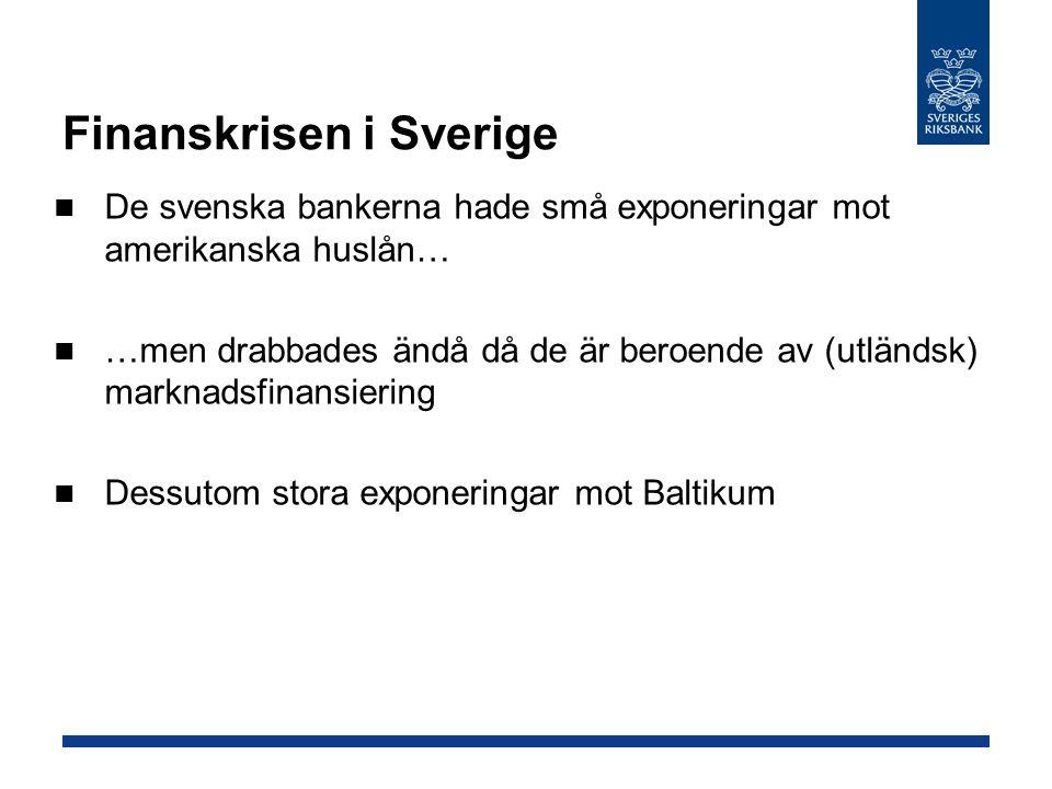 Finanskrisen i Sverige De svenska bankerna hade små exponeringar mot amerikanska huslån… …men drabbades ändå då de är beroende av (utländsk) marknadsf