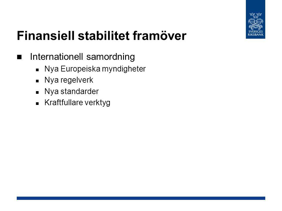 Finansiell stabilitet framöver Internationell samordning Nya Europeiska myndigheter Nya regelverk Nya standarder Kraftfullare verktyg