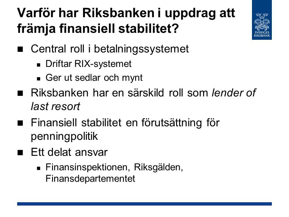 Varför har Riksbanken i uppdrag att främja finansiell stabilitet? Central roll i betalningssystemet Driftar RIX-systemet Ger ut sedlar och mynt Riksba