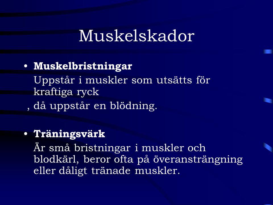 Muskelskador Muskelbristningar Uppstår i muskler som utsätts för kraftiga ryck, då uppstår en blödning. Träningsvärk Är små bristningar i muskler och
