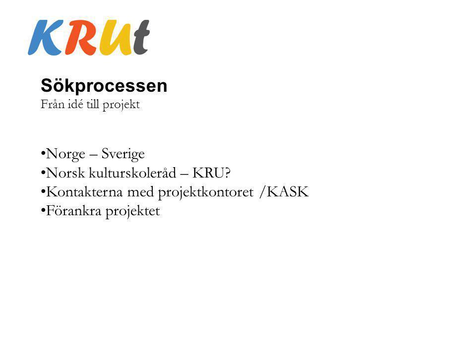 Sökprocessen Från idé till projekt Norge – Sverige Norsk kulturskoleråd – KRU? Kontakterna med projektkontoret /KASK Förankra projektet