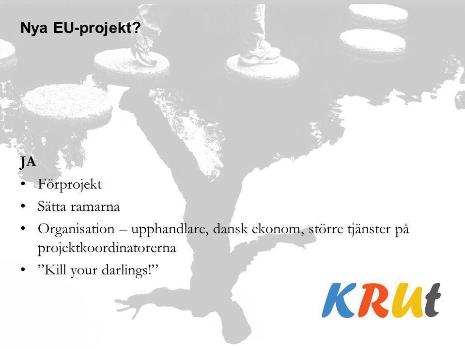 """Nya EU-projekt? JA Förprojekt Sätta ramarna Organisation – upphandlare, dansk ekonom, större tjänster på projektkoordinatorerna """"Kill your darlings!"""""""