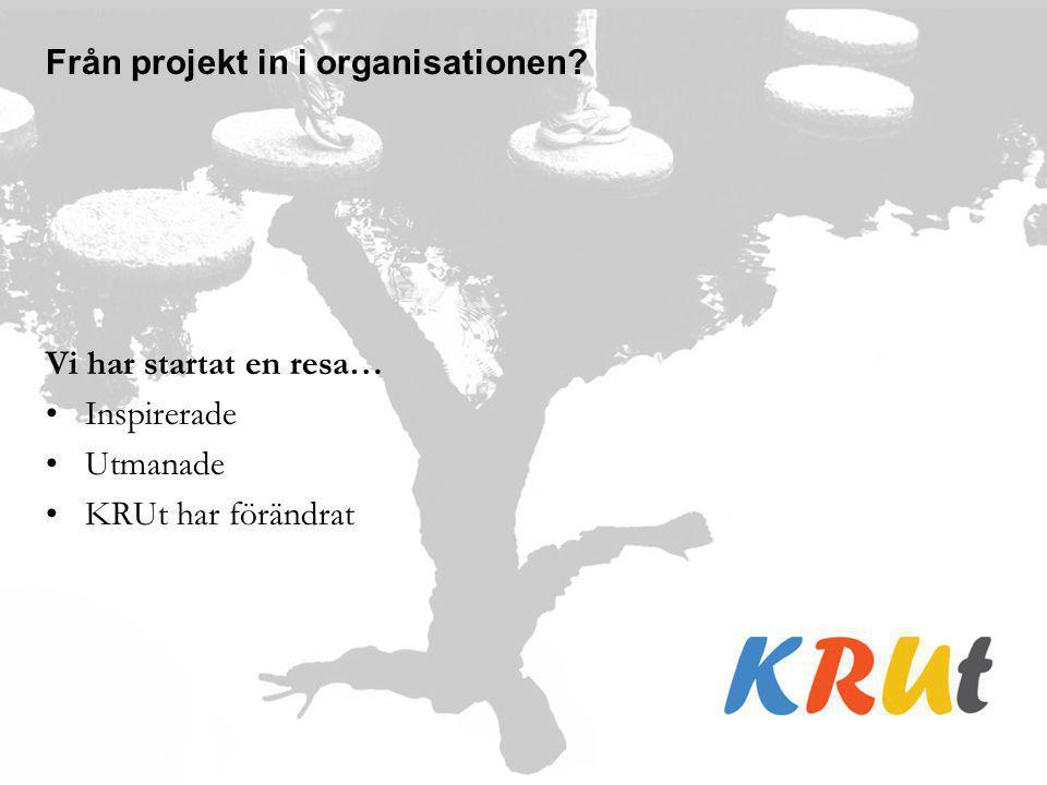 Från projekt in i organisationen? Vi har startat en resa… Inspirerade Utmanade KRUt har förändrat