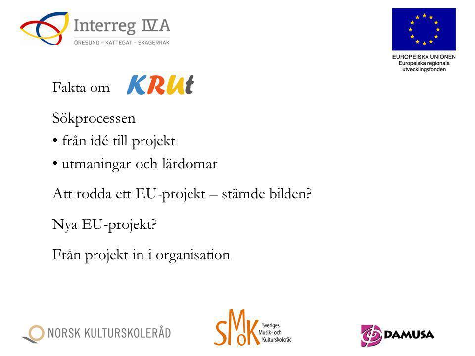 Fakta om Sökprocessen från idé till projekt utmaningar och lärdomar Att rodda ett EU-projekt – stämde bilden? Nya EU-projekt? Från projekt in i organi