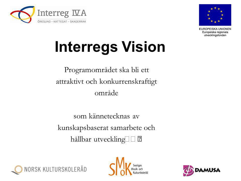 Programområdet ska bli ett attraktivt och konkurrenskraftigt område som kännetecknas av kunskapsbaserat samarbete och hållbar utveckling Interregs Vis