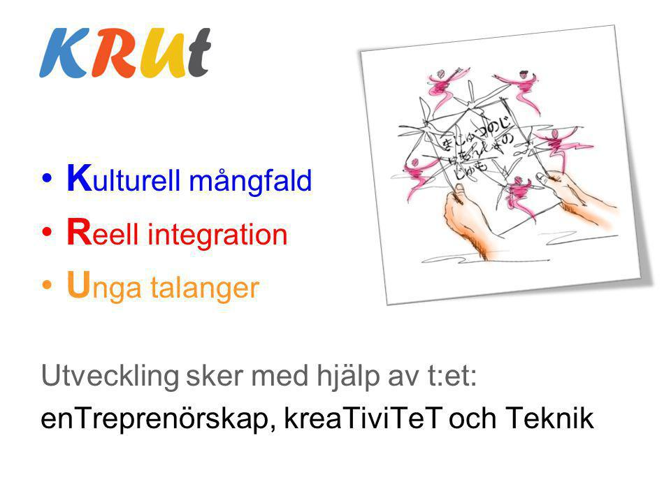 K ulturell mångfald R eell integration U nga talanger Utveckling sker med hjälp av t:et: enTreprenörskap, kreaTiviTeT och Teknik