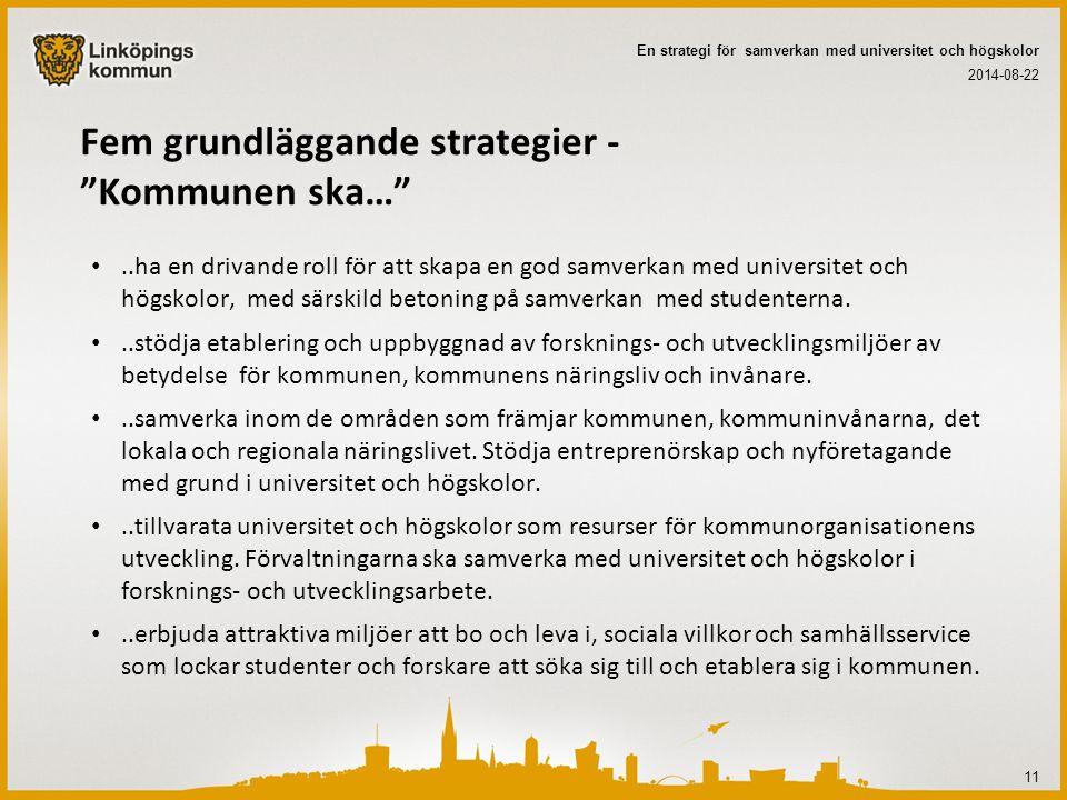 """Fem grundläggande strategier - """"Kommunen ska…""""..ha en drivande roll för att skapa en god samverkan med universitet och högskolor, med särskild betonin"""