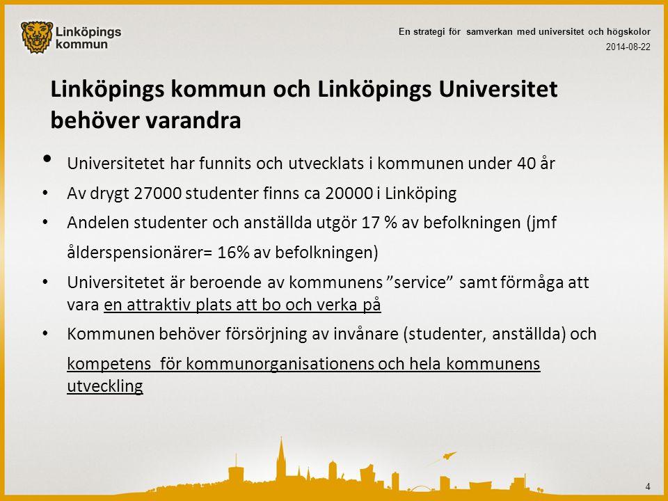Linköpings kommun och Linköpings Universitet behöver varandra Universitetet har funnits och utvecklats i kommunen under 40 år Av drygt 27000 studenter