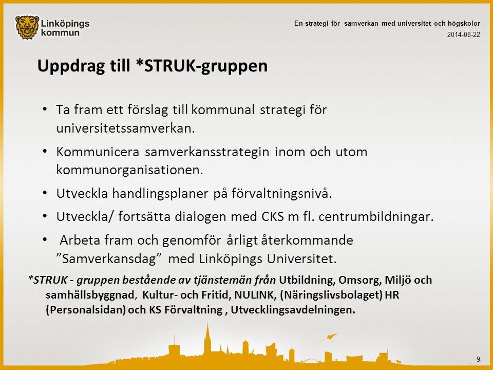 Uppdrag till *STRUK-gruppen Ta fram ett förslag till kommunal strategi för universitetssamverkan. Kommunicera samverkansstrategin inom och utom kommun