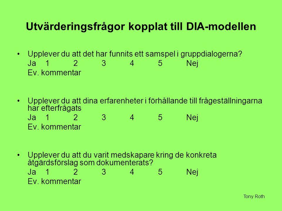 Utvärderingsfrågor kopplat till DIA-modellen Upplever du att det har funnits ett samspel i gruppdialogerna.