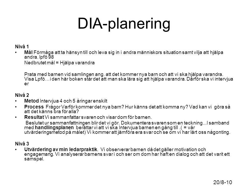 DIA-planering Nivå 1 Mål Förmåga att ta hänsyn till och leva sig in i andra människors situation samt vilja att hjälpa andra.