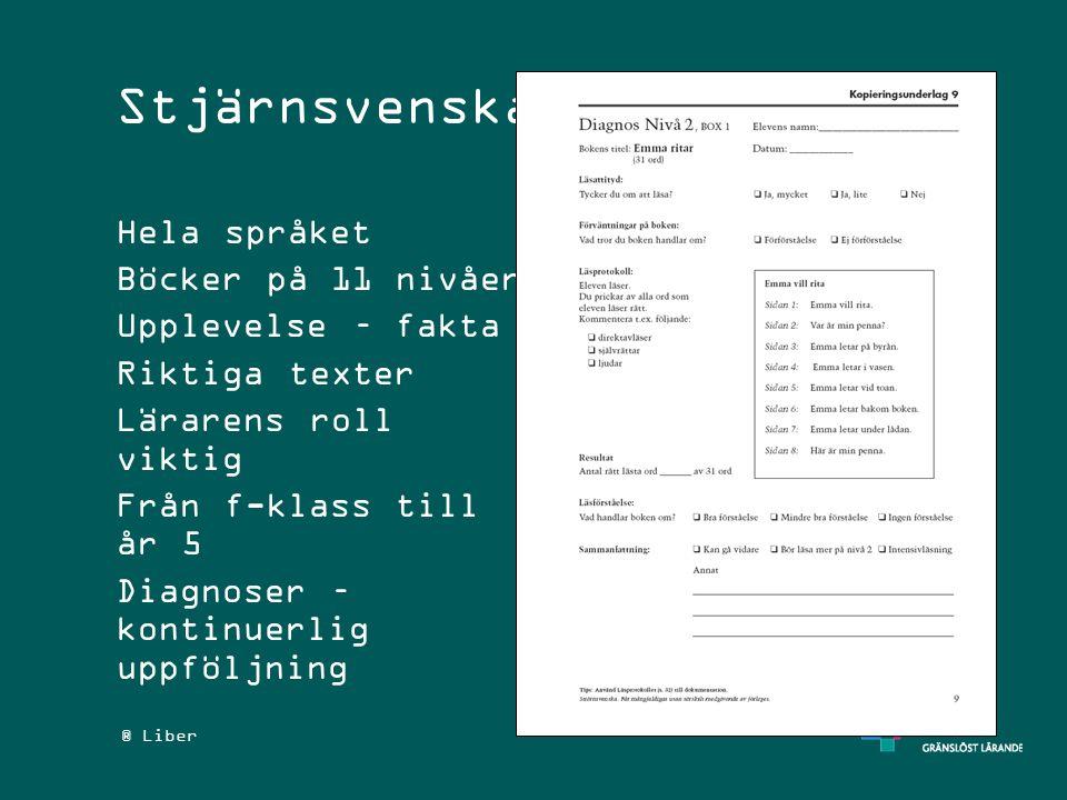 ® Liber Stjärnsvenska Hela språket Böcker på 11 nivåer Upplevelse – fakta Riktiga texter Lärarens roll viktig Från f-klass till år 5 Diagnoser – konti