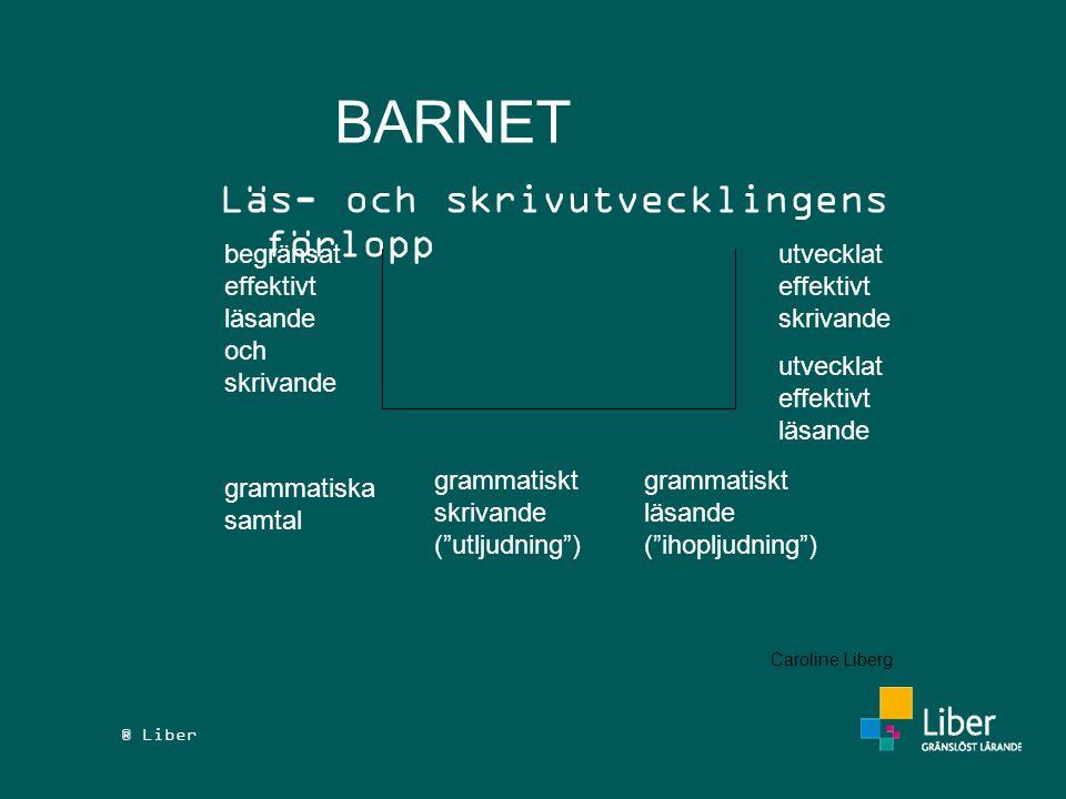 """® Liber BARNET Läs- och skrivutvecklingens förlopp begränsat effektivt läsande och skrivande grammatiska samtal grammatiskt skrivande (""""utljudning"""") g"""