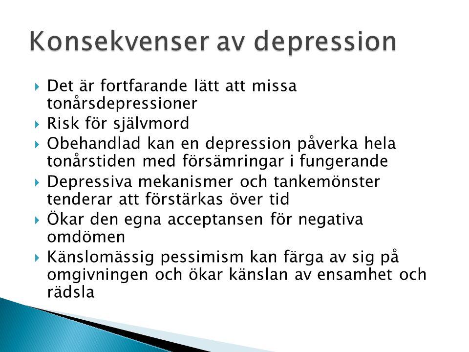  Det är fortfarande lätt att missa tonårsdepressioner  Risk för självmord  Obehandlad kan en depression påverka hela tonårstiden med försämringar i