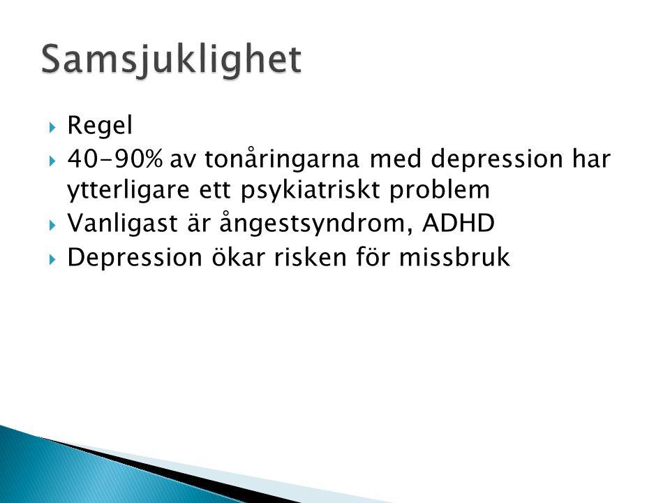  Regel  40-90% av tonåringarna med depression har ytterligare ett psykiatriskt problem  Vanligast är ångestsyndrom, ADHD  Depression ökar risken f