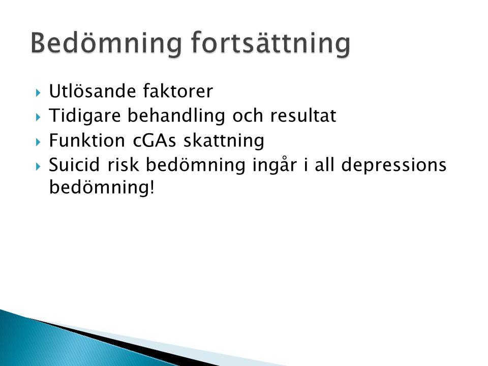  Utlösande faktorer  Tidigare behandling och resultat  Funktion cGAs skattning  Suicid risk bedömning ingår i all depressions bedömning!