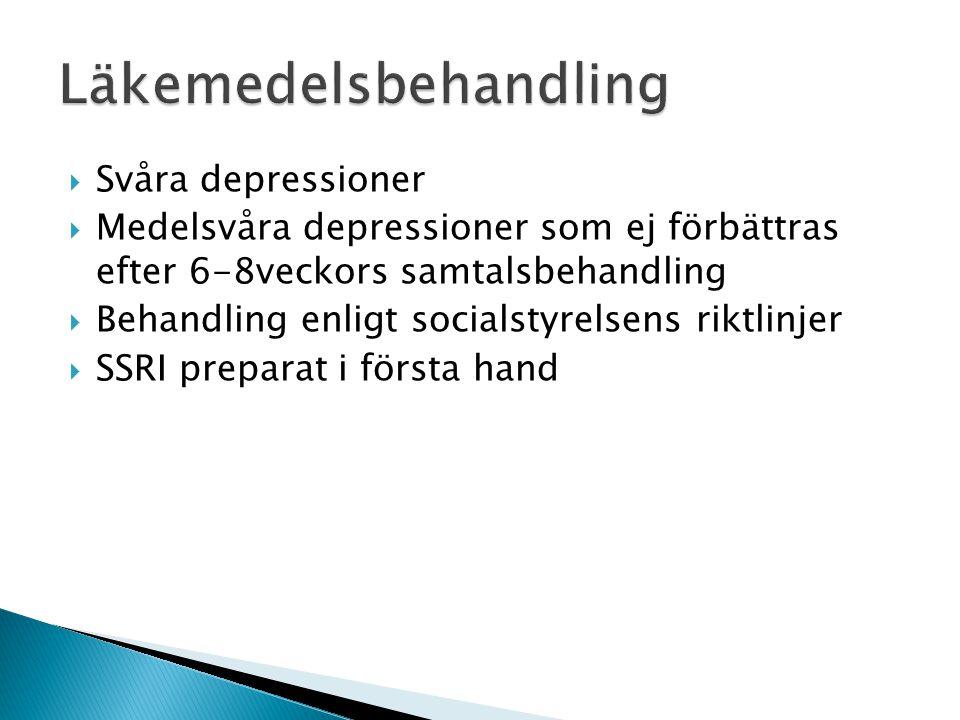  Svåra depressioner  Medelsvåra depressioner som ej förbättras efter 6-8veckors samtalsbehandling  Behandling enligt socialstyrelsens riktlinjer 