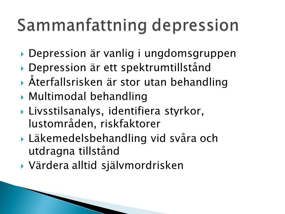  Depression är vanlig i ungdomsgruppen  Depression är ett spektrumtillstånd  Återfallsrisken är stor utan behandling  Multimodal behandling  Livs