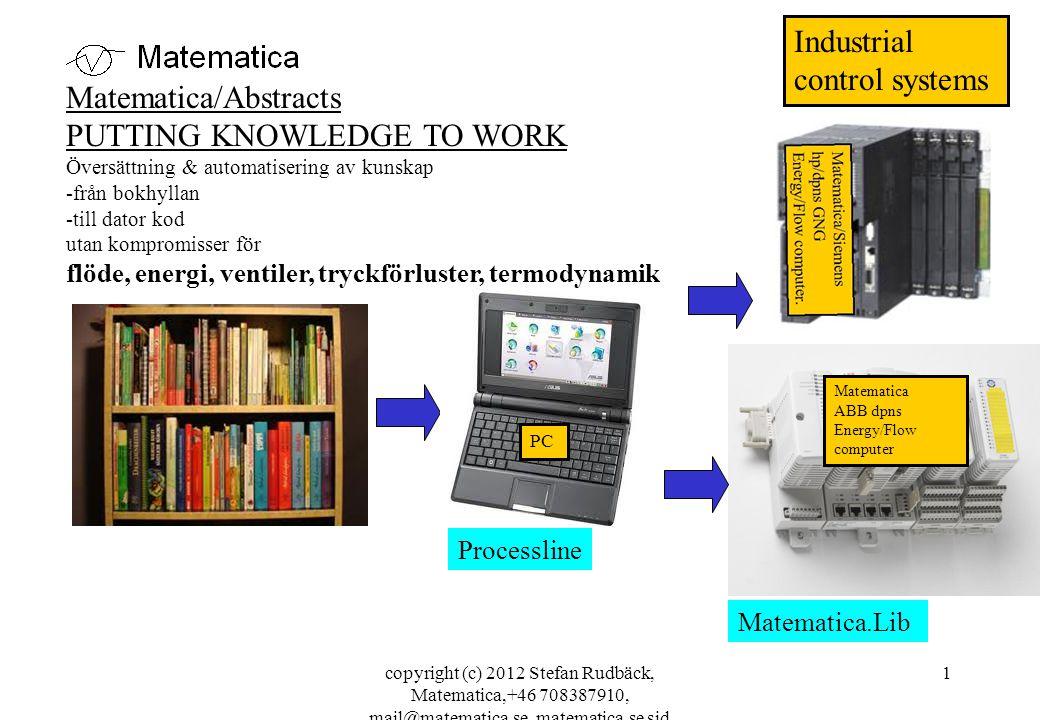 copyright (c) 2012 Stefan Rudbäck, Matematica,+46 708387910, mail@matematica.se, matematica.se sid 1 Matematica ABB dpns Energy/Flow computer Matematica/Abstracts PUTTING KNOWLEDGE TO WORK Översättning & automatisering av kunskap -från bokhyllan -till dator kod utan kompromisser för flöde, energi, ventiler, tryckförluster, termodynamik PC Industrial control systems Processline Matematica.Lib