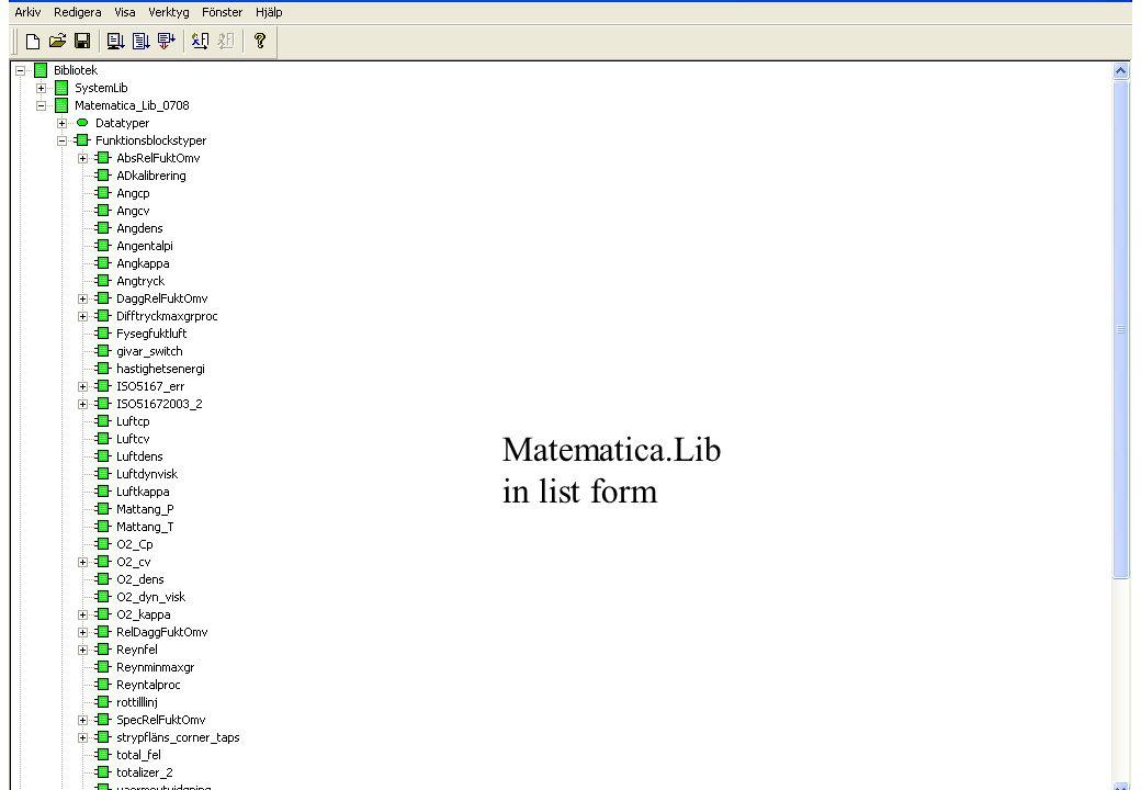copyright (c) 2012 Stefan Rudbäck, Matematica,+46 708387910, mail@matematica.se, matematica.se sid 25 Matematica.Lib in list form