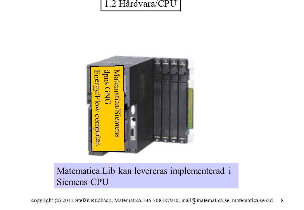 copyright (c) 2012 Stefan Rudbäck, Matematica,+46 708387910, mail@matematica.se, matematica.se sid 28 Matematica.Lib kan levereras implementerad i Siemens CPU