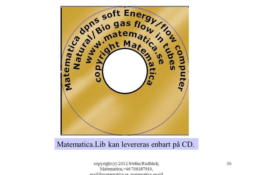 copyright (c) 2012 Stefan Rudbäck, Matematica,+46 708387910, mail@matematica.se, matematica.se sid 30 Matematica.Lib kan levereras enbart på CD.