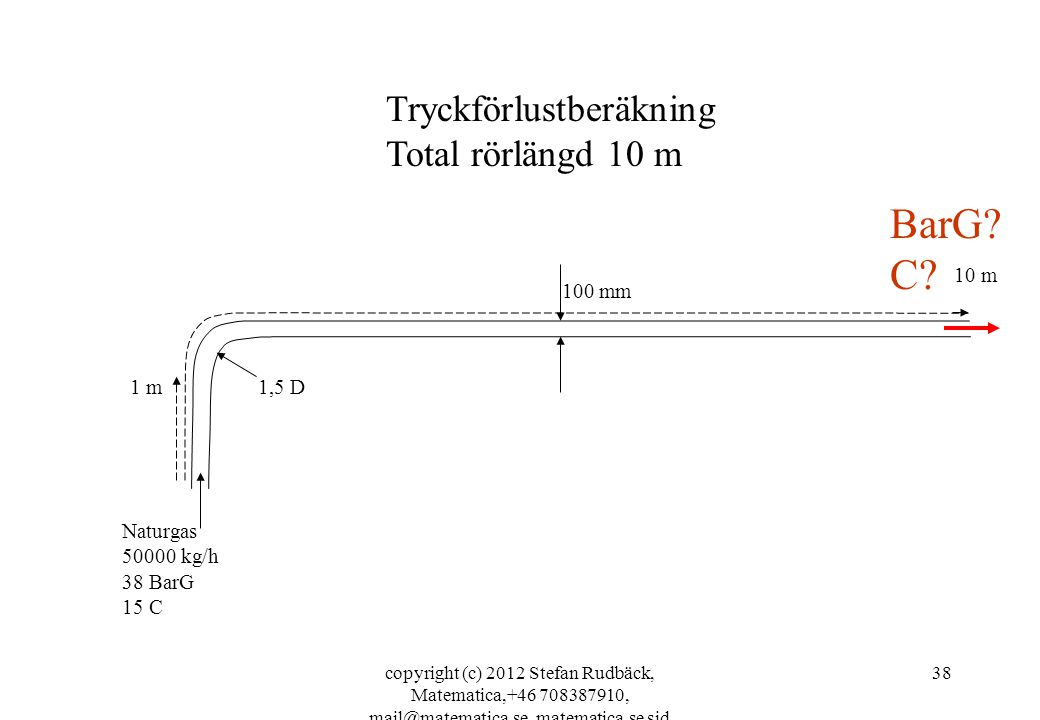 copyright (c) 2012 Stefan Rudbäck, Matematica,+46 708387910, mail@matematica.se, matematica.se sid 38 100 mm 1,5 D Naturgas 50000 kg/h 38 BarG 15 C 1 m BarG.