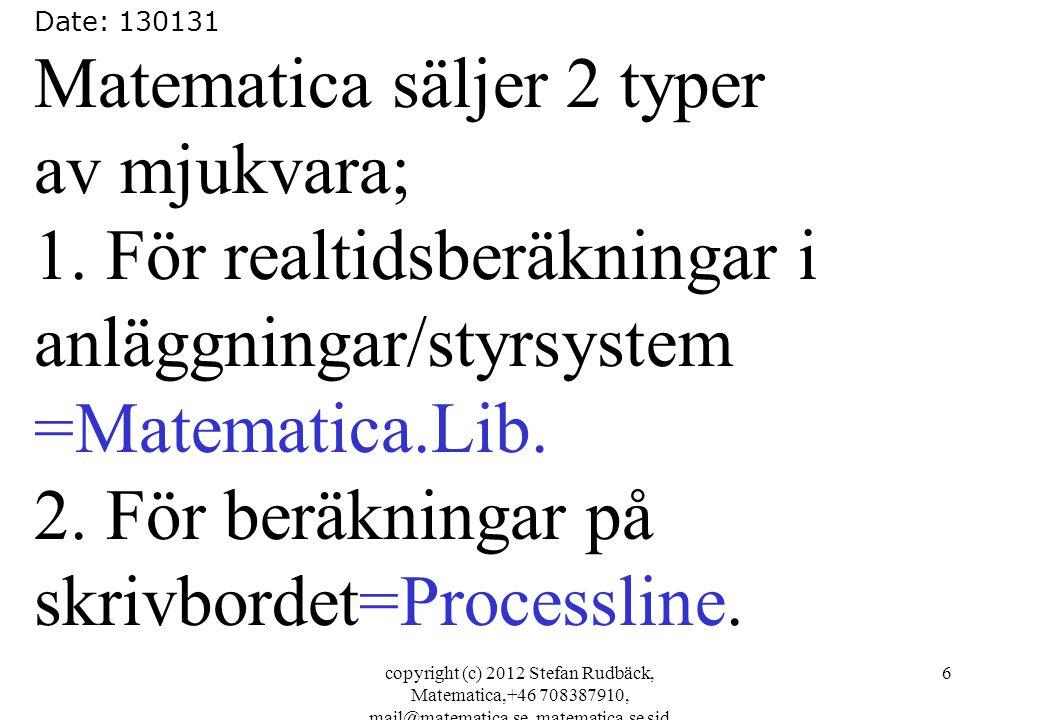 copyright (c) 2012 Stefan Rudbäck, Matematica,+46 708387910, mail@matematica.se, matematica.se sid 6 Date: 130131 Matematica säljer 2 typer av mjukvara; 1.