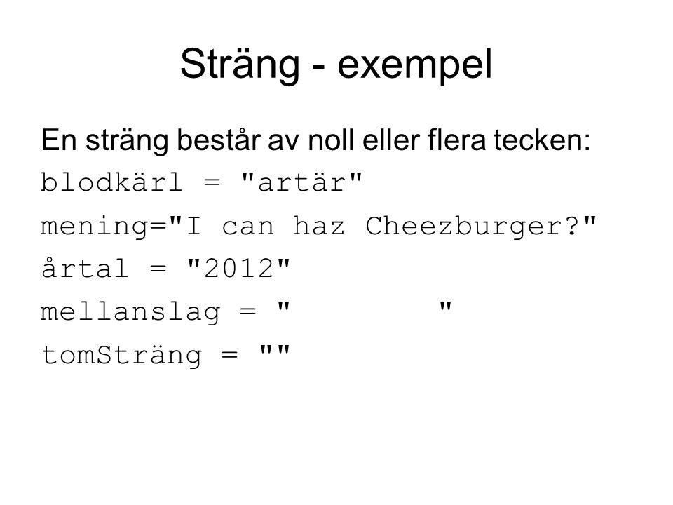Sträng - exempel En sträng består av noll eller flera tecken: blodkärl = artär mening= I can haz Cheezburger årtal = 2012 mellanslag = tomSträng =