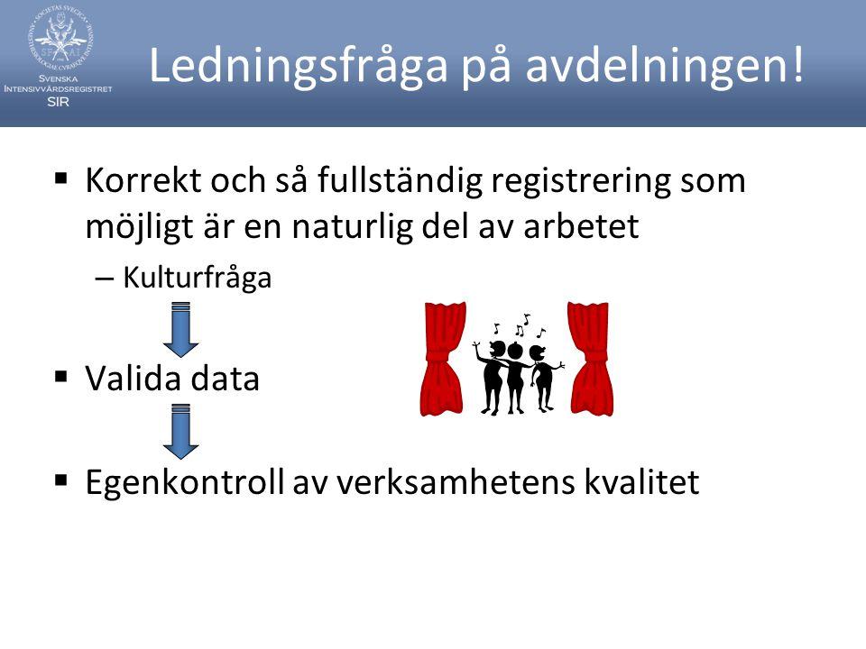 Ledningsfråga på avdelningen!  Korrekt och så fullständig registrering som möjligt är en naturlig del av arbetet – Kulturfråga  Valida data  Egenko
