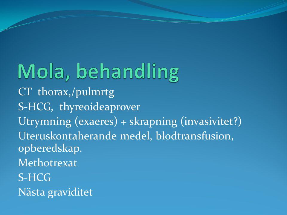 CT thorax,/pulmrtg S-HCG, thyreoideaprover Utrymning (exaeres) + skrapning (invasivitet?) Uteruskontaherande medel, blodtransfusion, opberedskap. Meth