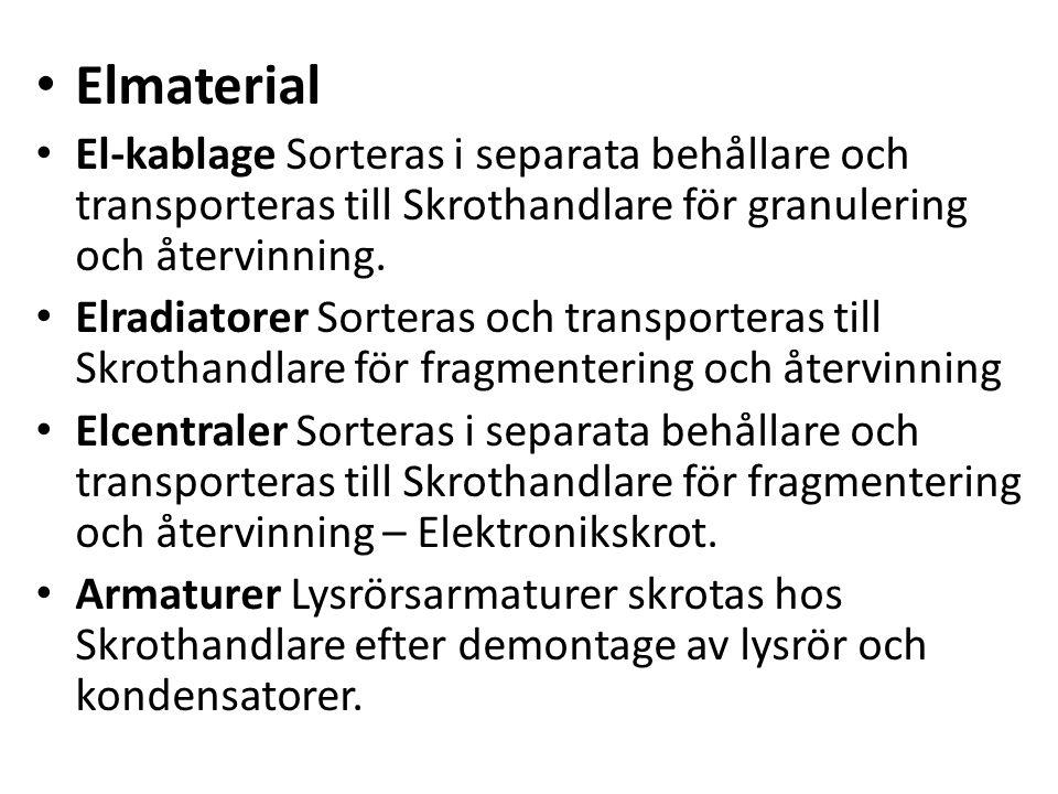 Elmaterial El-kablage Sorteras i separata behållare och transporteras till Skrothandlare för granulering och återvinning. Elradiatorer Sorteras och tr