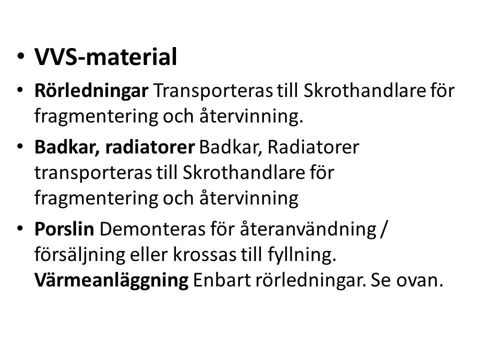 VVS-material Rörledningar Transporteras till Skrothandlare för fragmentering och återvinning. Badkar, radiatorer Badkar, Radiatorer transporteras till
