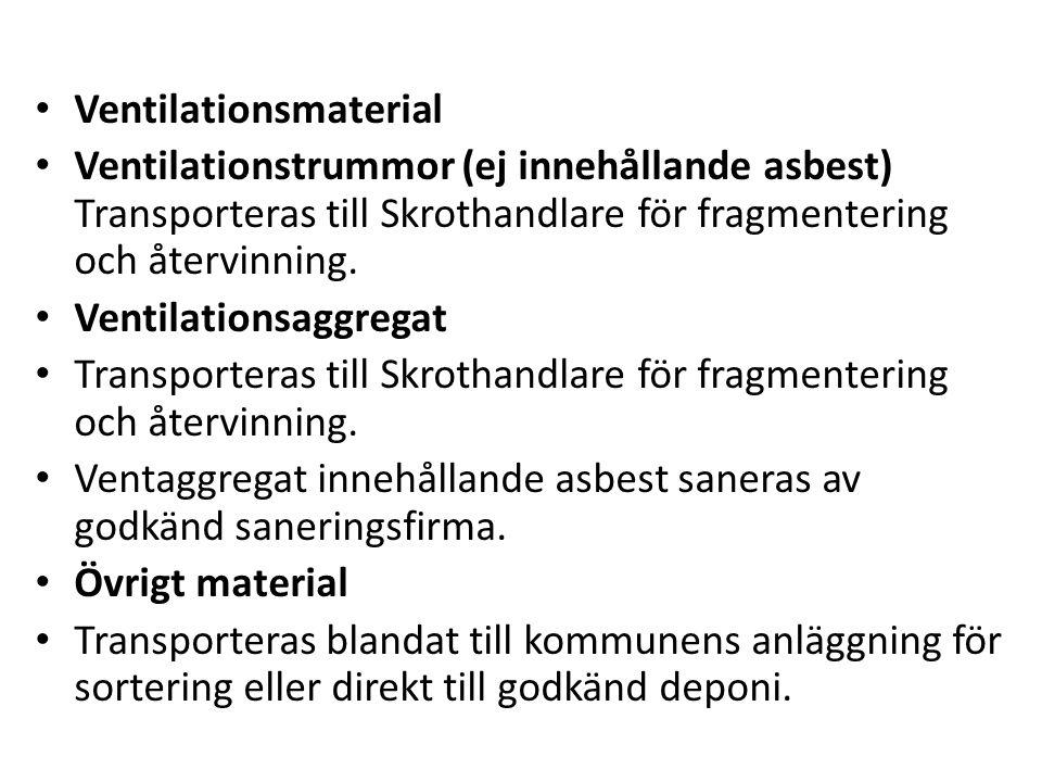 Ventilationsmaterial Ventilationstrummor (ej innehållande asbest) Transporteras till Skrothandlare för fragmentering och återvinning. Ventilationsaggr