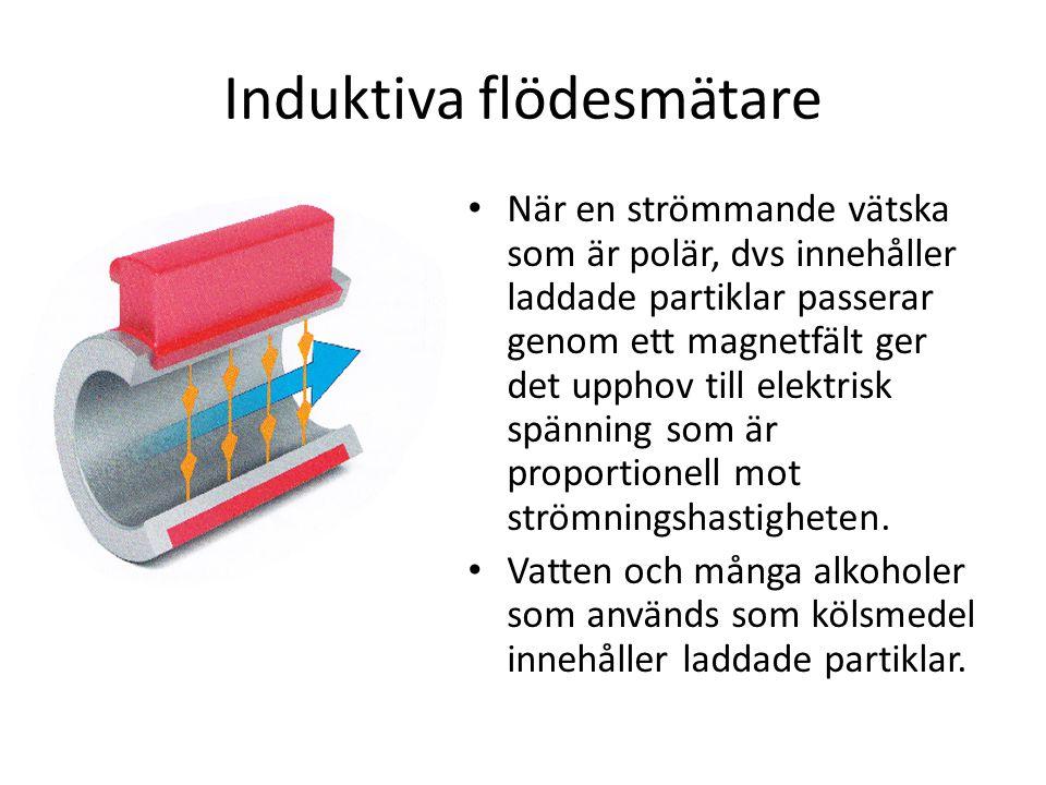 Induktiva flödesmätare _ När en strömmande vätska som är polär, dvs innehåller laddade partiklar passerar genom ett magnetfält ger det upphov till elektrisk spänning som är proportionell mot strömningshastigheten.