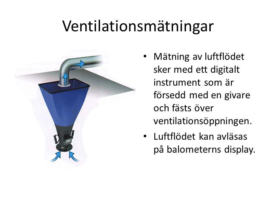 Ventilationsmätningar _ Mätning av luftflödet sker med ett digitalt instrument som är försedd med en givare och fästs över ventilationsöppningen. Luft