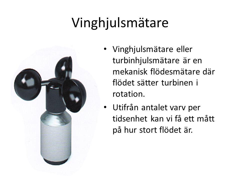 Vinghjulsmätare _ Vinghjulsmätare eller turbinhjulsmätare är en mekanisk flödesmätare där flödet sätter turbinen i rotation. Utifrån antalet varv per
