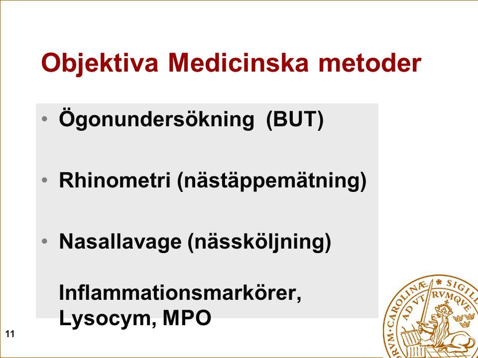 11 Objektiva Medicinska metoder Ögonundersökning (BUT) Rhinometri (nästäppemätning) Nasallavage (nässköljning) Inflammationsmarkörer, Lysocym, MPO