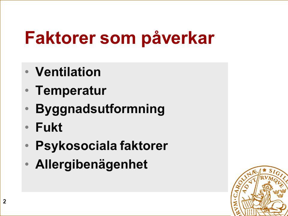 2 Faktorer som påverkar Ventilation Temperatur Byggnadsutformning Fukt Psykosociala faktorer Allergibenägenhet