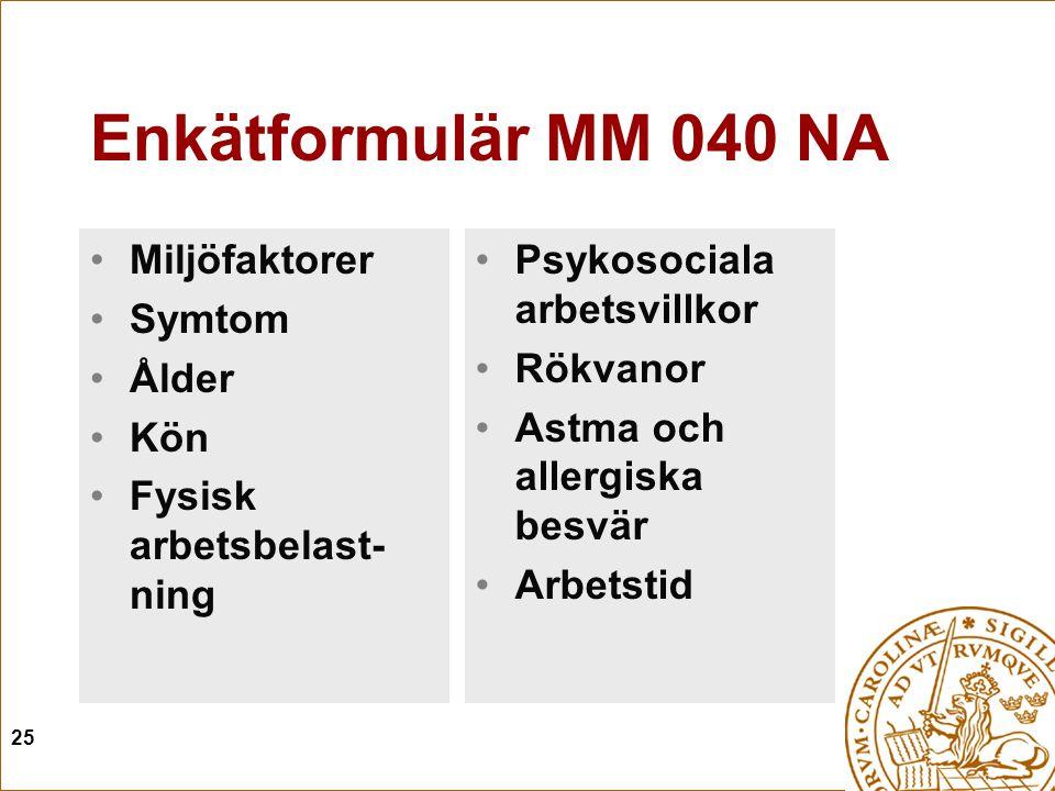 25 Enkätformulär MM 040 NA Miljöfaktorer Symtom Ålder Kön Fysisk arbetsbelast- ning Psykosociala arbetsvillkor Rökvanor Astma och allergiska besvär Arbetstid